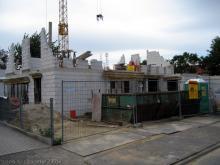 Die ersten Innenwände im Obergeschoß  [08.07.2009] Obergeschoss