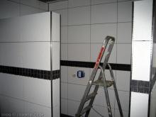 Schwarze Bordüren im Badezimmer Dusche [06.12.2009] Fliesen